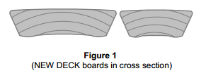 NEW DECK boards in cross section