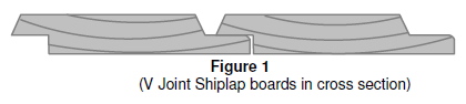 V Joint Shiplap boards in cross section