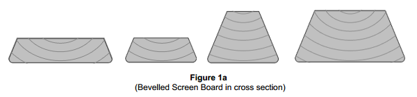 Bevelled Screen Board in cross section (left) and Square Screen Board in cross section (right)
