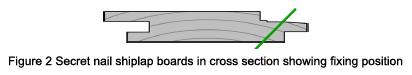 Radial Shiplap boards in cross section